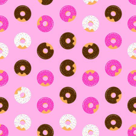 Pink seamless pattern with glazed donuts