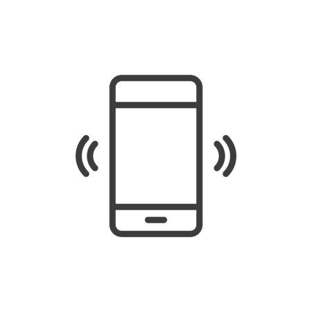 Phone vibrating/ringing icon on white background.