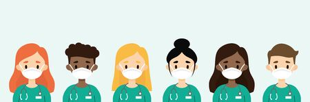 Group of doctors/nurses wearing masks. Medical staff wearing protective equipment  イラスト・ベクター素材