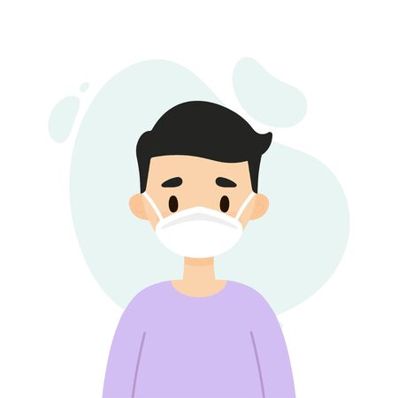 Young man wearing a face mask  イラスト・ベクター素材