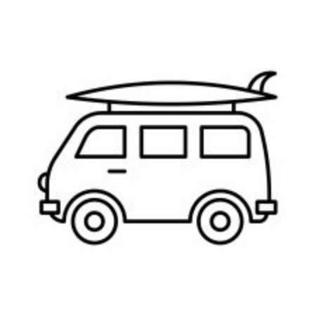 Minivan with surfboard on white background 向量圖像