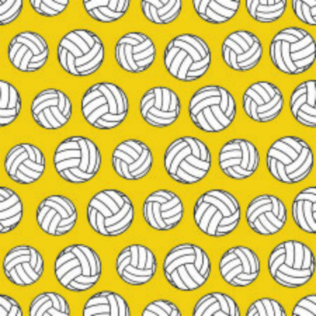 Yellow seamless pattern with volleyballs