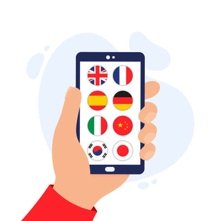 Language panel for a mobile application. App for learning foreign languages. Online course for learning foreign languages on the phone. Hand holding a smartphone. Vektoros illusztráció