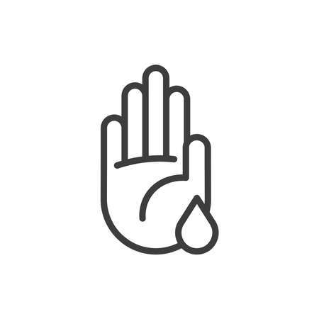 Hand with water drop icon. Washing hands/saving water icon.