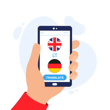 Mobile application for translating foreign languages. Online dictionary and translator app for smartphones. English-German online dictionary app. Hand holding a smartphone. Vectores