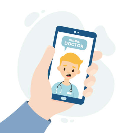Online doctor consultation. Medical consultation through video call. Doctor consulting a patient through an online application. Hand holding a smartphone.