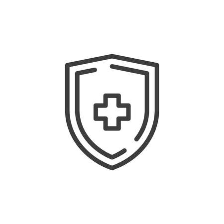 Shield with medical symbol icon on white background Vetores
