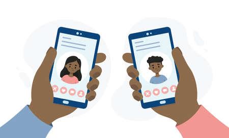 Dating application for smartphones. Hands holding smartphones. People dating through an online app. Illustration