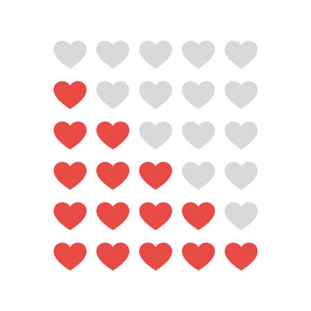 Hearts rating on white background