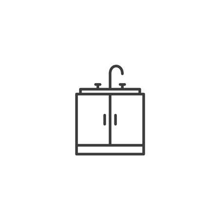Kitchen sink icon vector on white background