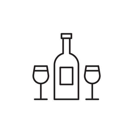 Wine bottle and glasses icon vector