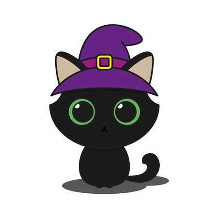 Cute black cat wearing a witch hat Ilustracja
