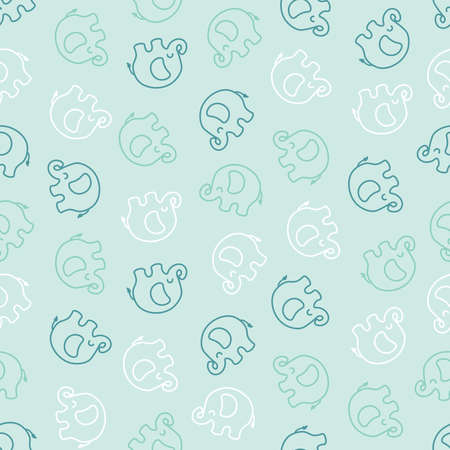 Seamless pattern with white and blue elephants