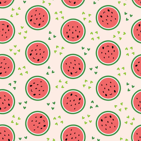 Seamless pattern with cute watermelon slices