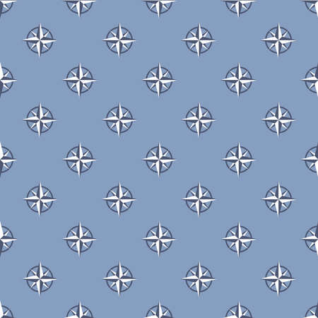 Blue seamless pattern with compass signs