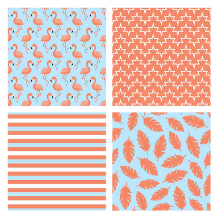 Set of four seamless patterns with flamingo birds, pink feathers and stripes