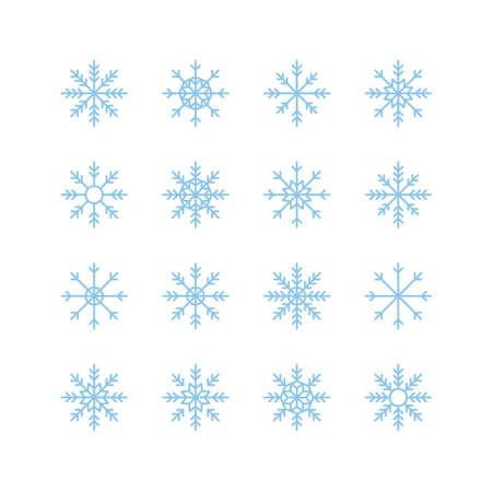 Set of 16 blue snowflakes icons