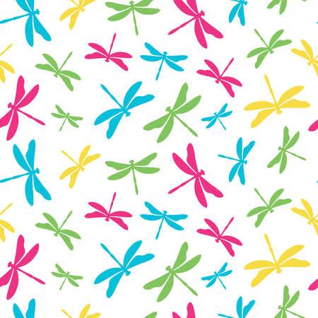 Seamless pattern with colorful dragonflies Illusztráció