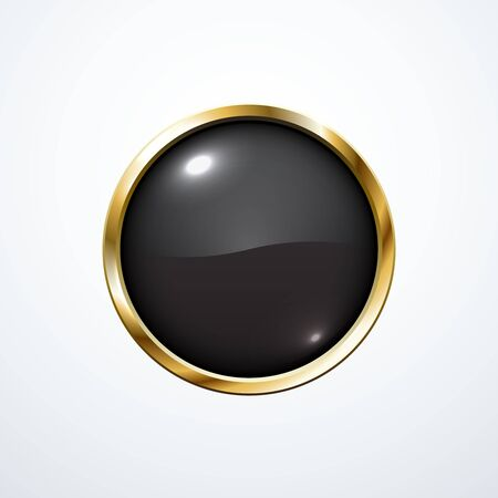 black button: Gold and black round button