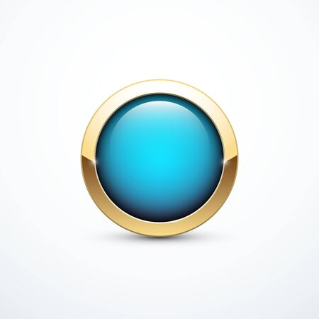 blue button: Gold and blue button Illustration