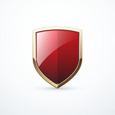 Escudo de oro y rojo Ilustración de vector