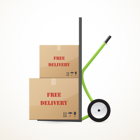 forwarding: Cardboard boxes on the hand trolley. Free delivery.