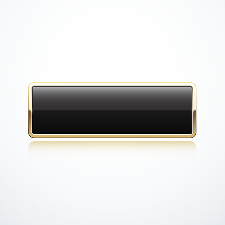 rectangle button: Gold and black rectangle button Illustration