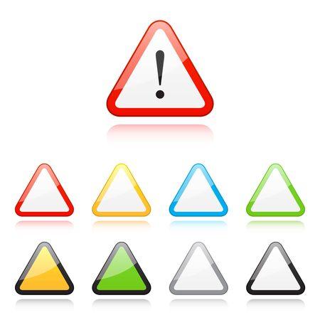 warning signs: Set of triangle warning signs