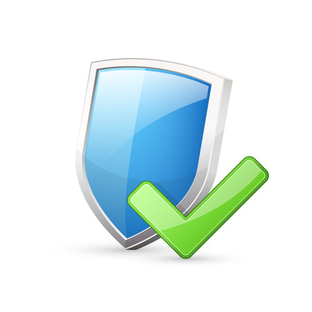 green check mark: Blue shield with green check mark Illustration
