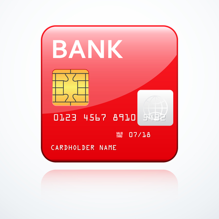 cardholder: Red bank card icon