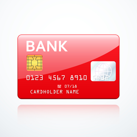remittance: Red bank card icon