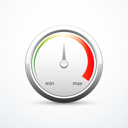analog dial: Round metallic gauge Illustration