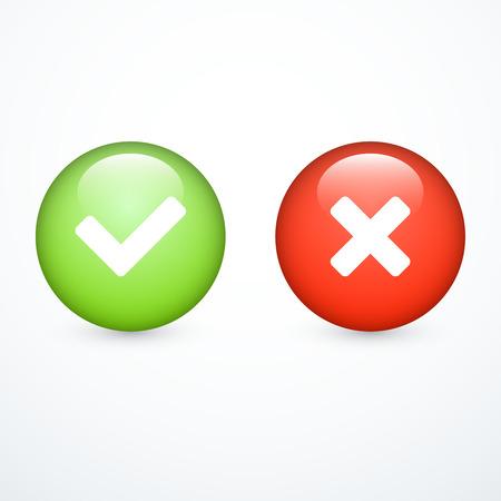 Marcas de verificación. Tick ???? y la cruz. Ilustración de vector