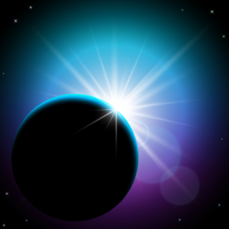 shining star: Planet and shining star in space
