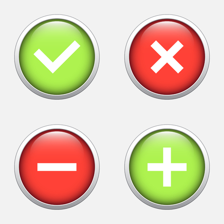 red sign: Tick, cross, plus, minus icon set