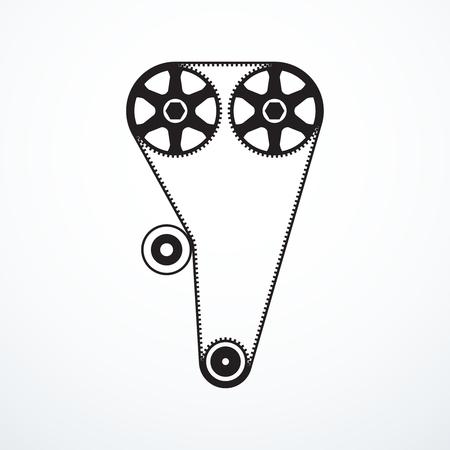 timing belt: Timing belt icon Illustration