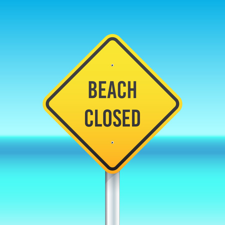beach closed: Beach closed sign on the sea background Illustration