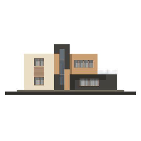 facade and house: Vector hi tech house facade. House in minimalist style