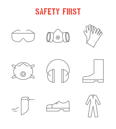 safety first: Set of safety equipment icons. Safety first