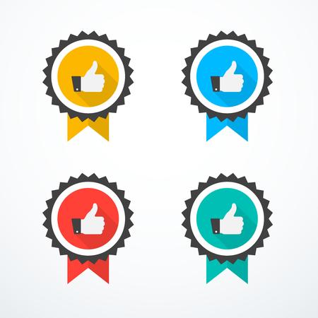 Set of award icons. Thumb up icons vector illustration.