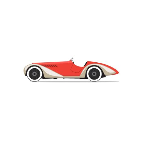 Vector red retro car. Side view Illustration