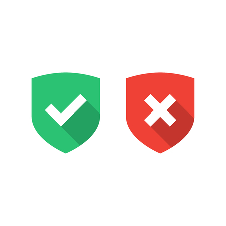 Vector shield icons. Tick ??and cross icons