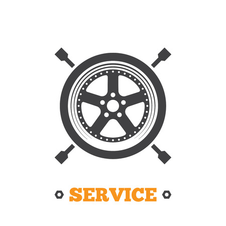 Vector car service icon. Tire fitting icon.