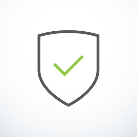 controlling: Shield and check mark icon. Shield and tick icon Illustration
