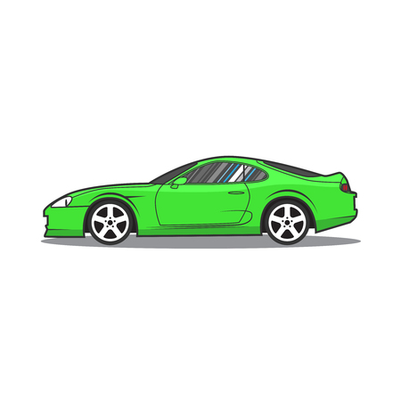 Vector green sport car. Side view.