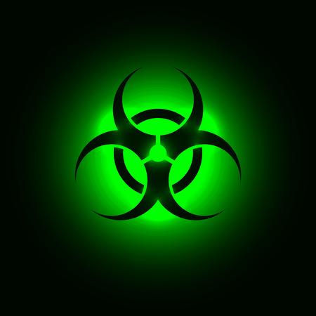 Biohazard symbol on green glowing background Иллюстрация