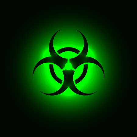 Biohazard symbol on green glowing background Illustration