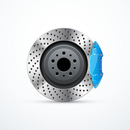Vector brake disc with caliper. Car brakes Illustration