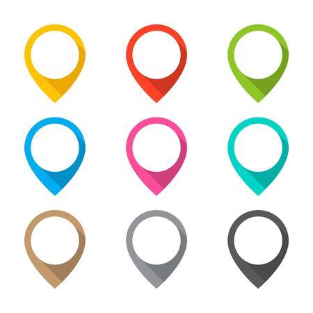 Set of map pins Ilustração