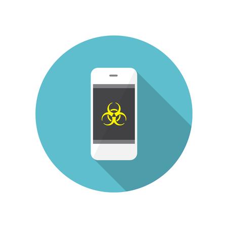 biohazard: A Smartphone virus protection concept. Biohazard symbol on the screen Illustration